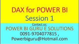 DAX For Power BI Session 1 | DAX Training | DAX Tutorial | POWER BI GURU