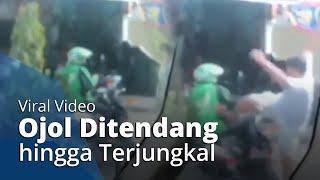 Viral Video Pria Tendang Driver Ojol hingga Terjungkal dengan Motornya, Ratusan Ojol Marah