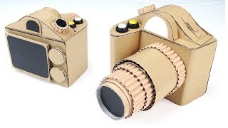 How To Make DSLR Camera From Cardboard With Moving Zoom - Homemade Toys