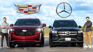 [Throttle House] 2021 Cadillac Escalade vs Mercedes-Benz GLS // $100,000 SUV Kings Face Off