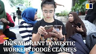 Hong Kong's migrant domestic workers dodge tear gas and clashes