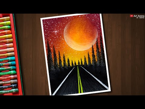 drawing a red night road with scenary by art arena