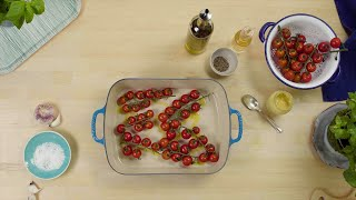 video: Watch: How to whip up white beans and roast tomatoes with a caper and mint dressing