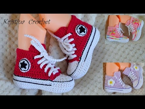How to Crochet Converse ALL STAR Baby Booties TUTORIAL ( English )