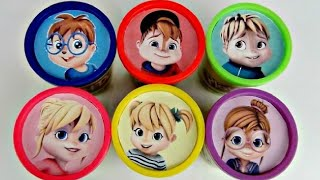 Learn Colors ALVINNN!!! and the Chipmunks, Chipettes, Playdoh Lid Toy Surprises IRL / TUYC