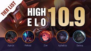 HIGH ELO LoL Tier List Patch 10.9 by Mobalytics - League of Legends Season 10
