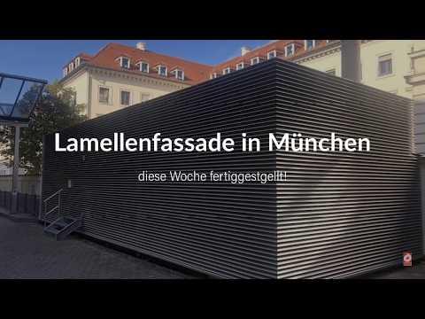 Alu Lamellen Fassade als Technikeinhausung in München