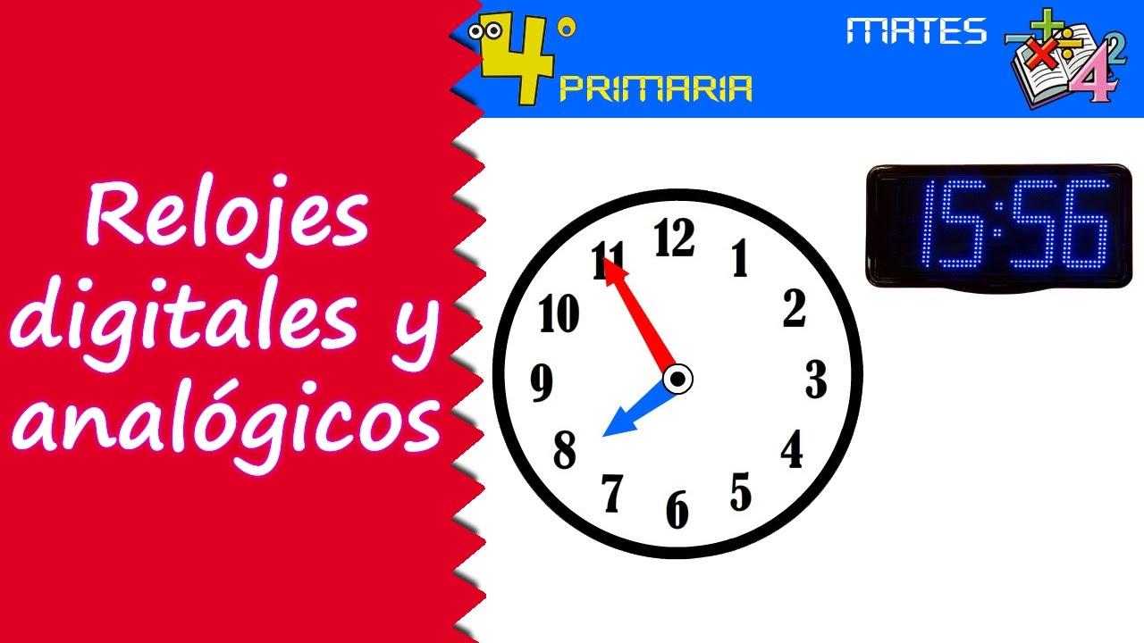 Matemáticas. 4º Primaria. Tema 9. Relojes digitales y analógicos