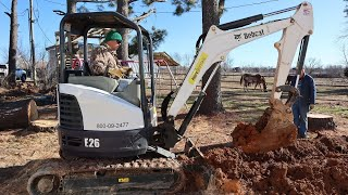 Learning How To Operate The Bobcat E26 Compact Excavator! | Rebuilding My In-Laws House Ep. 2