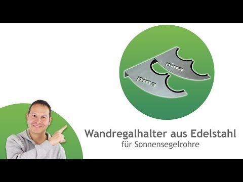 Wandregalhalter aus sandgestrahltem Edelstahl - für ø60,3mm/ø70mm und ø101,6mm Rohre