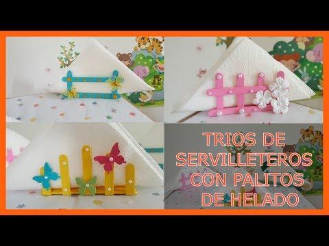 TRIO DE SERVILLETEROS CON PALITOS DE HELADO. POPTA SERVILLETAS
