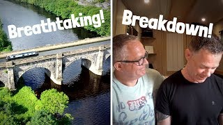 Breakdown! Narrowboat across Lancaster and the Lune Aqueduct.