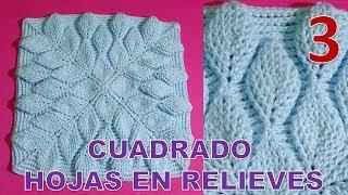 PARTE 3 Cuadrado A Crochet Hojas En Relieves 3D Para Cobijas, Colchas Y Cojines Paso A Paso