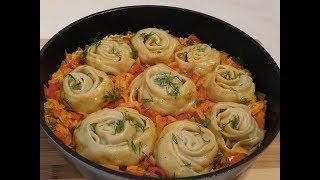"""Завитушки на овощной подушке""-невероятно вкусное блюдо!"