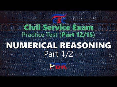 Civil Service Exam: Numerical Reasoning Part 1 (Practice Test Part ...