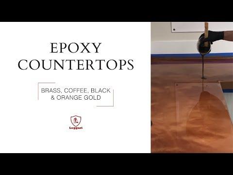 Epoxy Countertop Coating in Brass, Coffee, Black and Orange Gold Metallics