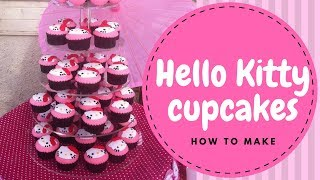 【Hello Kitty】Hello Kitty Cupcakes Tutorial (2 Mins)  | Irmas Fondant Cakes