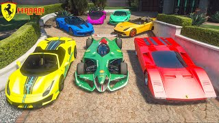 GTA 5 ✪ Stealing LUXURY FERRARI Cars With Michael ✪ (Real Life Cars #35)