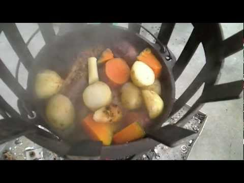 Cooking Beef potato and pumpkin in the Dutch Oven using the Brazier