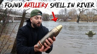 MAGNET FISHING in A SCARY RIVER FOUND ARTILLERY SHELL!