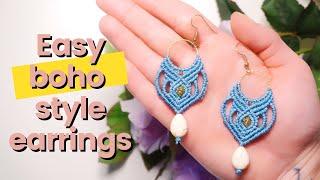 How To Make Super Easy Boho Style Macrame Earrings For Macrame Beginners | How To Macrame As A Pro