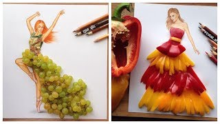 Real Life Object Used As Playful Fabulous Fashion Illustration /Fashion Dresses Sketches