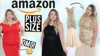 TRYING ON CHEAP FORMAL DRESSES FROM AMAZON! | Plus Size Try On