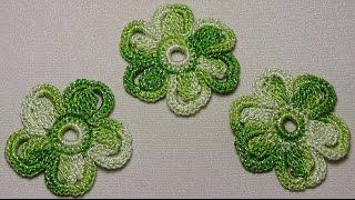 Как связать крючком простой ЦВЕТОЧЕК - вязание для начинающих - Lessons for beginners crochet
