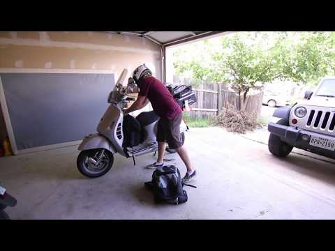 Luggage & 2 backpacks on Vespa - no problem! | Mitch's Scooter Stuff
