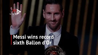 Watch the moment Lionel Messi makes history (again) by winning sixth Ballon d'Or