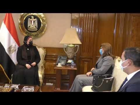 لقاء السيدة/نيفين جامع وزيرة التجارة والصناعة مع رئيس مجلس ادارة بنك التنمية الصناعية