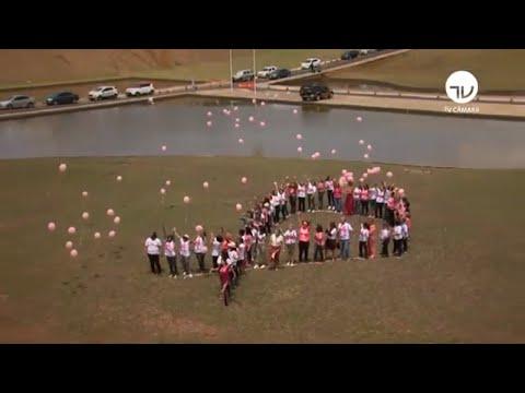Outubro Rosa: mulheres fazem ato no gramado do Congresso - 23/10/19