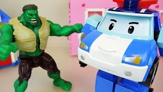 Robocar Poli and Hulk super heroes, car toys play