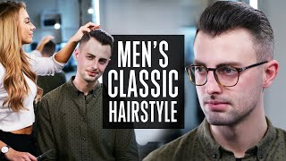 Mens Short Classic Business Haircut - Side Part Hairstyle