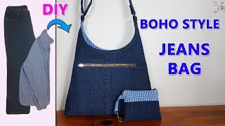 DIY BOHO STYLE JEANS BAG | DIY BAG | BOHO BAG | RECYCLE OLD JEANS IDEAS | BAG SEWING TUTORIAL