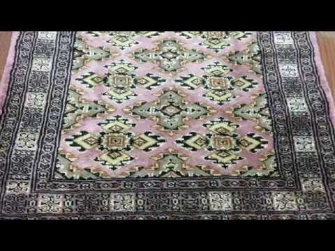Pink and Beige Royal Bukhara With Silk Oriental Rug 2'X5'10 - AT-1036