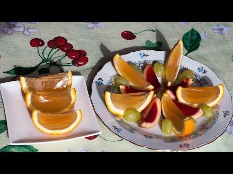 Яблочные и апельсиновые дольки на агар-агаре