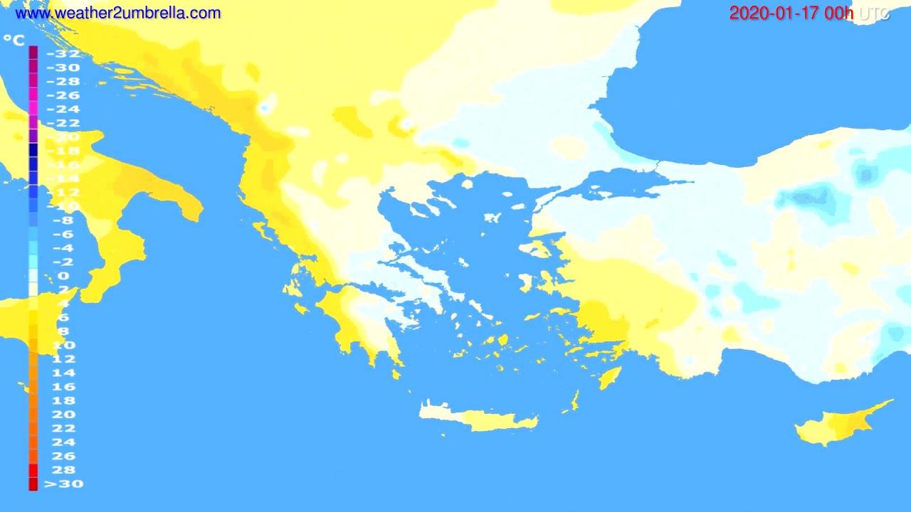 Temperature forecast Greece // modelrun: 00h UTC 2020-01-16