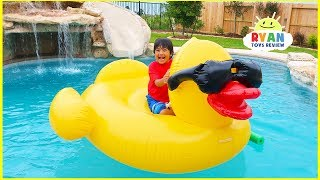 Ryan's Swimming Pool Playtime for the first time in our new house with water slides!!!