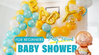 EASY Baby Shower Balloon Garland Decoration Ideas For Boys At Home | Balloon Arch DIY  | How To