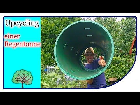 Upcycling Regenfass   Wassertone zu einem Komposter