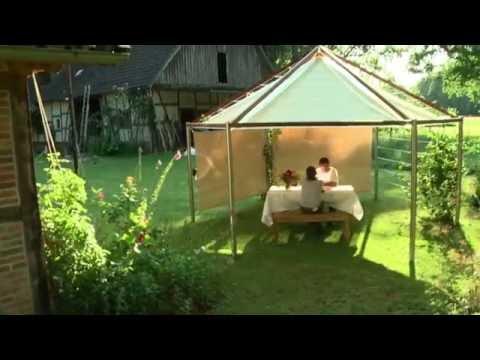 Gartenpavillon mit Blätterdach / wasserdicht & witterungsbeständig