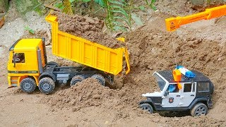Excavator, Dump Truck, Tractor, Fire Truck, Garbage Trucks & Police Cars Toy Vehicles for Kids