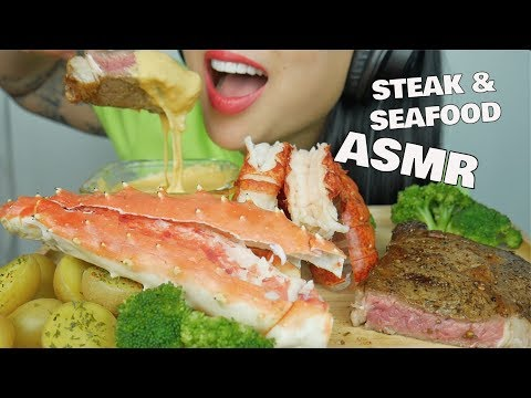 ASMR CHEESE FONDUE STEAK AND SEAFOOD *KING CRAB + LOBSTER (EATING SOUNDS) NO TALKING | SAS-ASMR