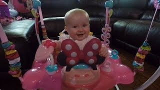 Babies first reaction to Bright Starts Jumper Minnie Mouse