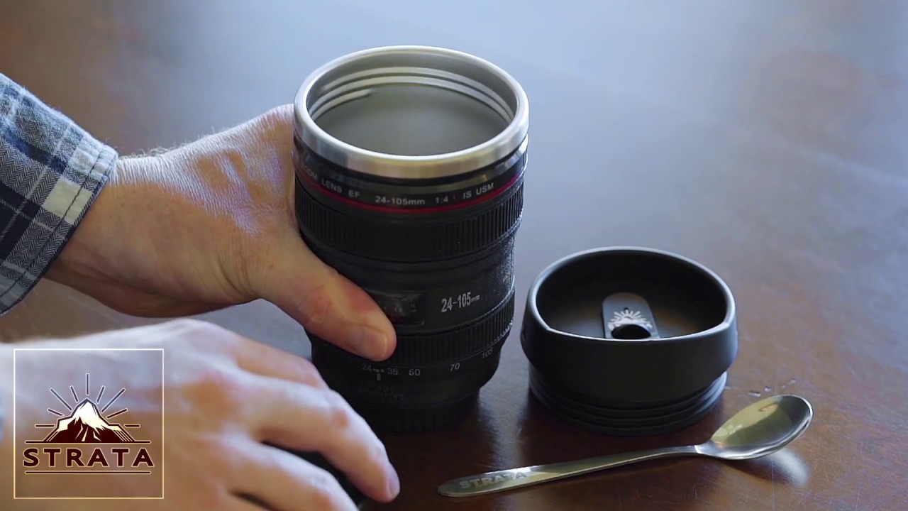 Coffee cup shaped Strata camera lens for photographers
