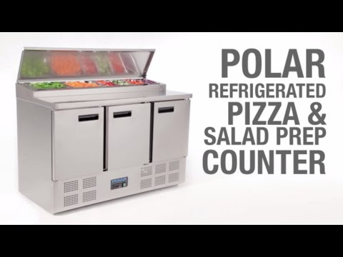Video Polar RVS pizzawerkbank - G605 - 3 deuren