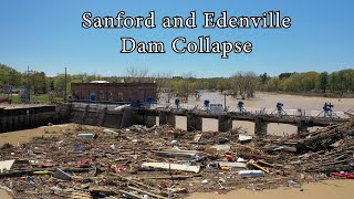 Sanford and Wixom Flood 2020 - Drone - Dam Collapse