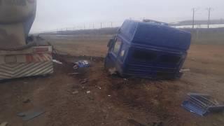 Авария трасса Астана караганда 22.04.17 оторвало кабину