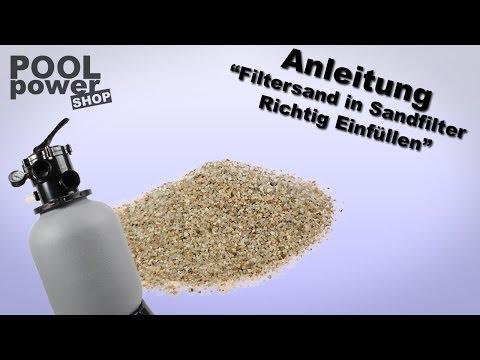 Filtersand in Sandfilter Einfüllen